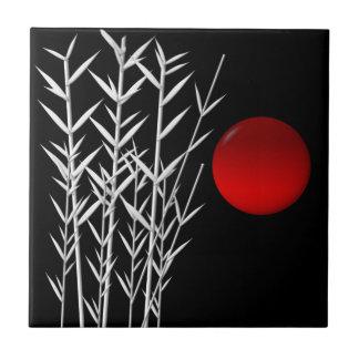 Red sun black white zen small square tile