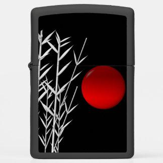 Red sun black white zen zippo lighter