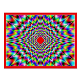 Red Sun Flares Optical Illusion Poster