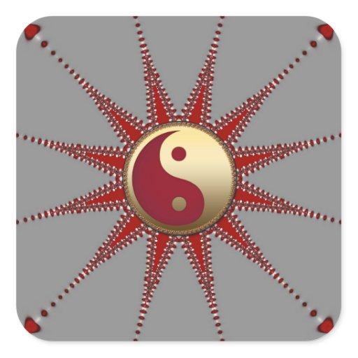 Red Sun Golden Yin Yang Sticker