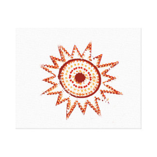 Red Sun in Lights Grunge Cutout Canvas Print