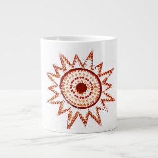Red Sun in Lights Grunge Cutout Giant Coffee Mug