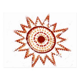 Red Sun in Lights Grunge Cutout Postcard