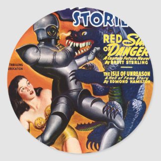 Red Sun of Danger Classic Round Sticker