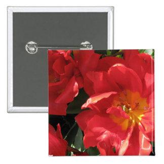 Red Sun Petals Pinback Button