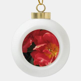 Red Sun Petals Ceramic Ball Christmas Ornament