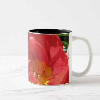 Red Sun Petals Two-Tone Coffee Mug
