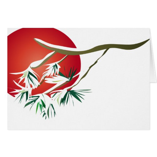 Red Sun Pine Greeting Cards