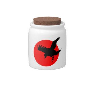 Red Sun Raven Candy Jar