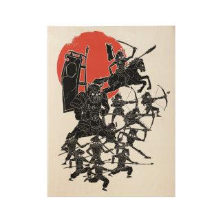 Red Sun Samurai Wood Poster
