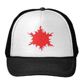 Red sun symbol trucker hat
