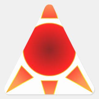 Red Sun Triangle Sticker