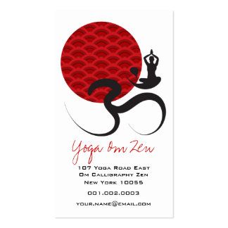 Red Sun Yoga Spiritual Indian Meditate Om Ohm Logo Business Card Templates