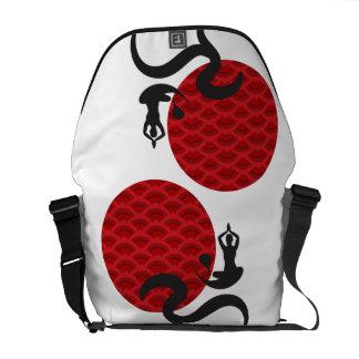 Red Sun Yoga Spiritual Indian Meditate Om Ohm Logo Courier Bag