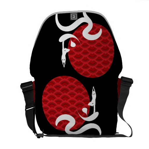 Red Sun Yoga Spiritual Indian Meditate Om Ohm Logo Courier Bags