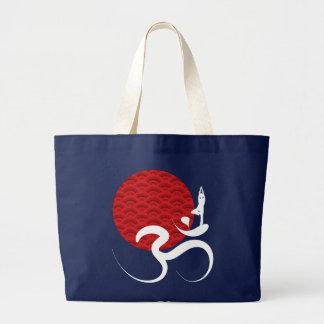 Red Sun Yoga Spiritual Indian Meditate Om Ohm Logo Large Tote Bag