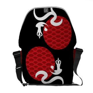 Red Sun Yoga Spiritual Indian Meditate Om Ohm Logo Messenger Bag
