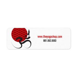 Red Sun Yoga Spiritual Indian Meditate Om Ohm Logo Return Address Label
