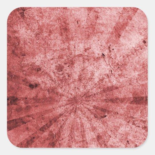 Red Sunburst Grunge Square Sticker