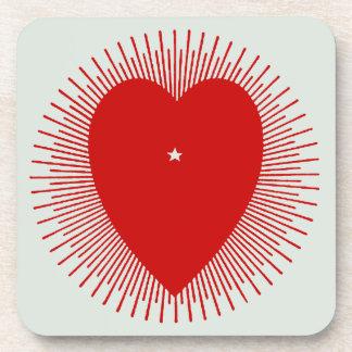 Red sunburst heart: altered 1914 graphic art coaster