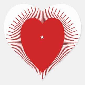Red sunburst heart design heart sticker