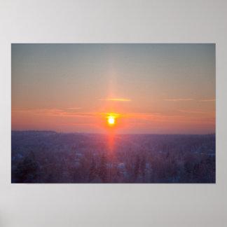 Red sundown on winter day poster