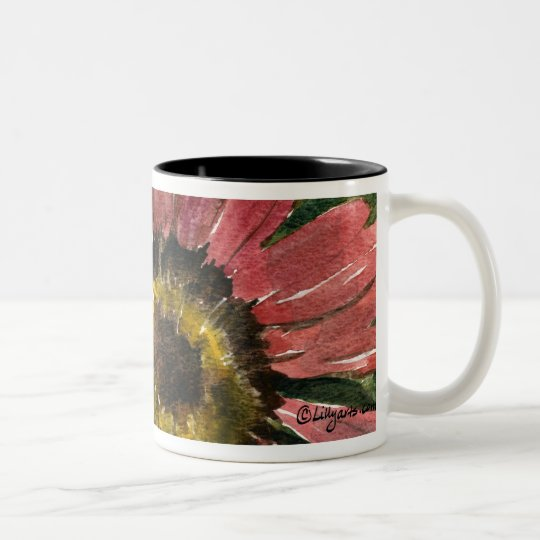 Red Sunflower 09 Painting Mug Watercolor Art