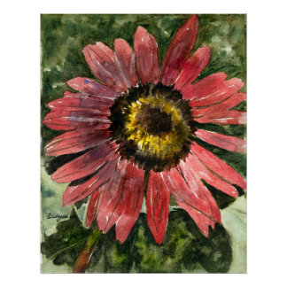 Red Sunflower 5 Watercolor Painting Print/Poster Poster