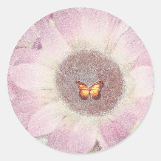 Red Sunflower Butterfly Sticker