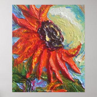 Red Sunflower Fine Art Poster