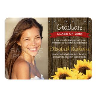 Red Sunflower Graduation Announcement
