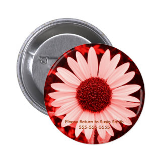 Red Sunflower Lable Button