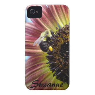 Red Sunflower N Bee  iPhone 4 case