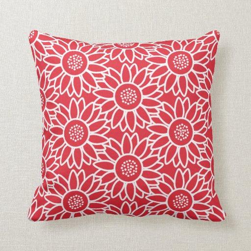 Throw Pillows With Sunflower Design : Red Sunflower Pattern Throw Pillow Zazzle