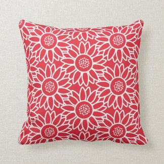 Red Sunflower Pattern Throw Pillow