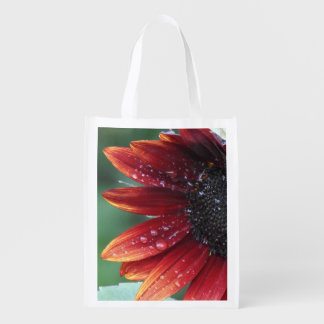 Red Sunflower Petals And Rain Drops Grocery Bag