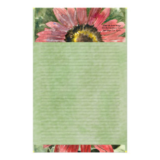 Red Sunflower Watercolor Personalized Stationary Stationery