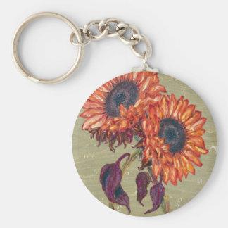 Red Sunflowers Keychain