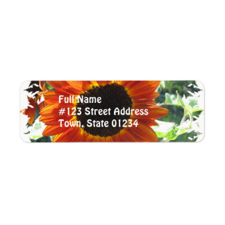 Red Sunflowers Mailing Label Return Address Label