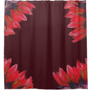 Red Sunflowers On Maroon Shower Curtain