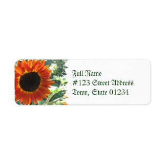Red Sunflowers Return Address Mailing Label Return Address Label