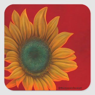 red sunfower square stickers