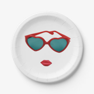 Red Sunglasses and Candy Lips Paper Plate