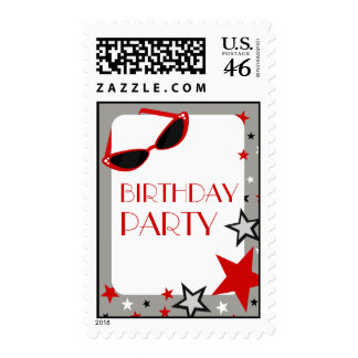 Red Sunglasses Stars Birthday Party Postage