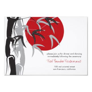 Red Sunrise Bamboo Zen Wedding Reception Custom Invitations