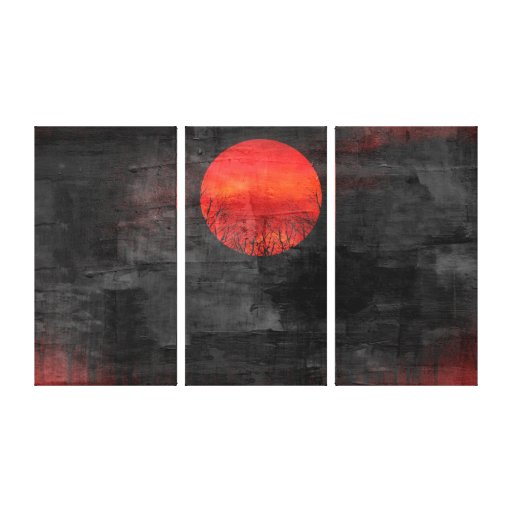 Red Sunset Abstract Painting #3 Gallery Wrap Canvas