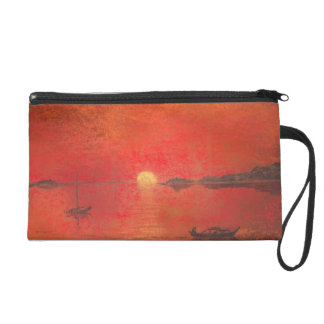 red sunset at sea wristlet purses