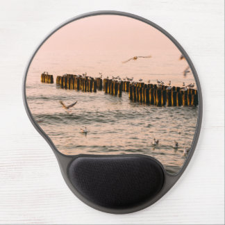 Red Sunset, Breakwater And Seagulls Gel Mouse Pad