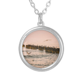 Red Sunset Breakwater And Seagulls Necklace