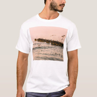 Red Sunset, Breakwater And Seagulls T-Shirt